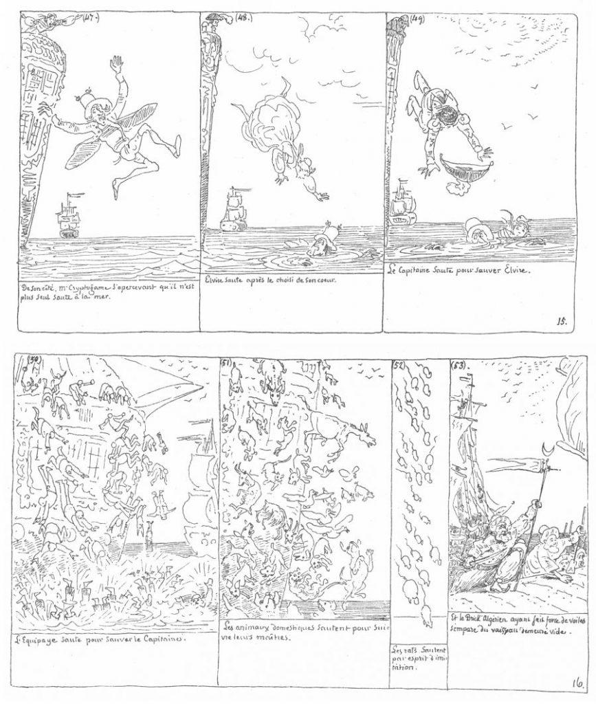 Figure 1: Genevessä 1845 julkaistun Mr. Cryptogame -autografian sivut 15–16 (Kunzle, The Complete Comic Strips 464‒465).