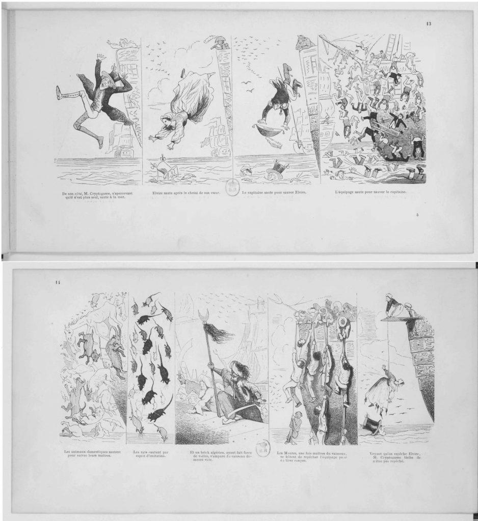 Figure 2: Chamin muokkaaman, Pariisissa 1846 julkaistun Mr. Cryptogame -albumin sivut 13‒14 ([Cham]).