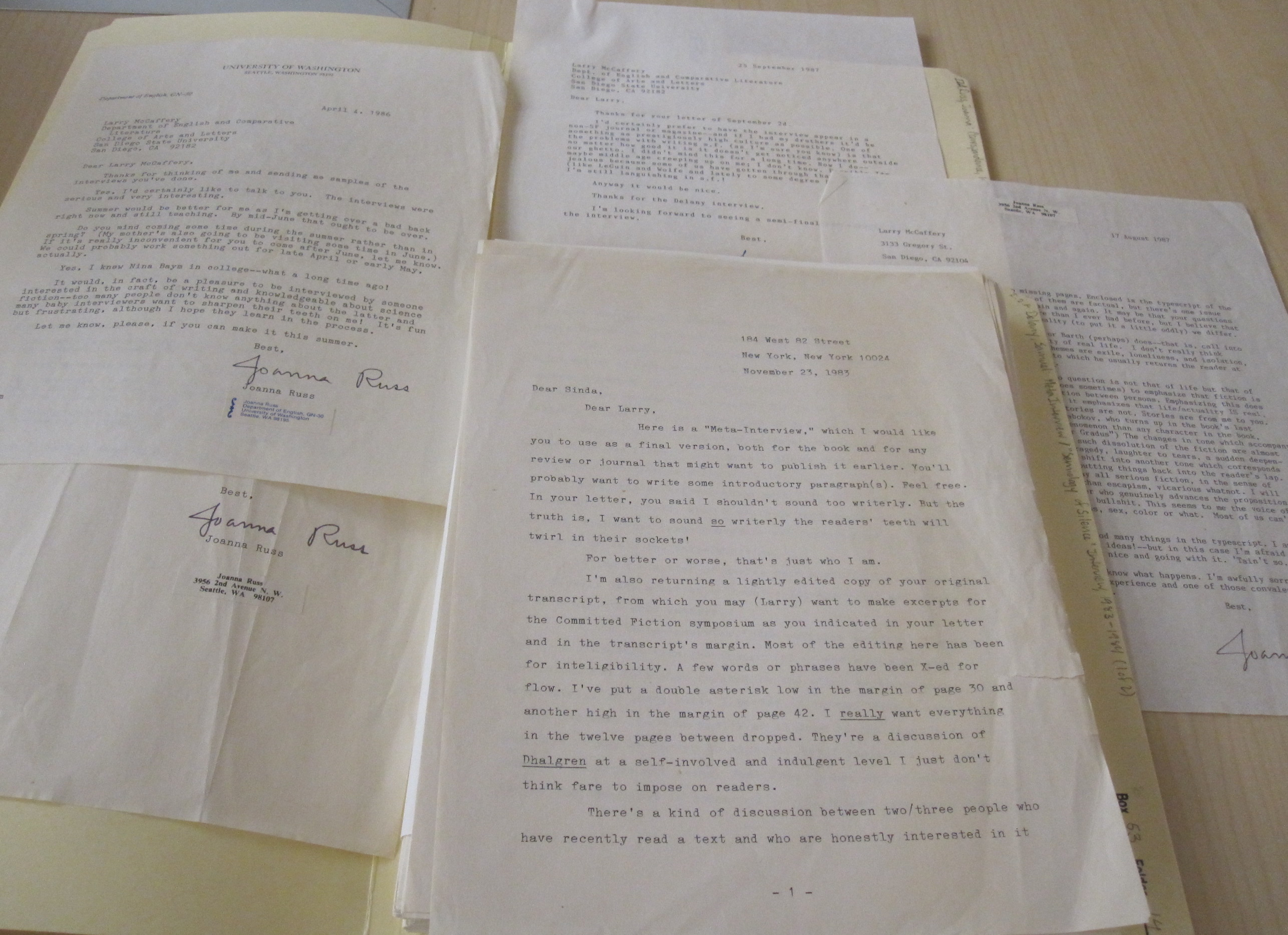 Image 4: Pictured here is correspondence from Joanna Russ and Samuel Delany from the Larry McCaffery Collection.