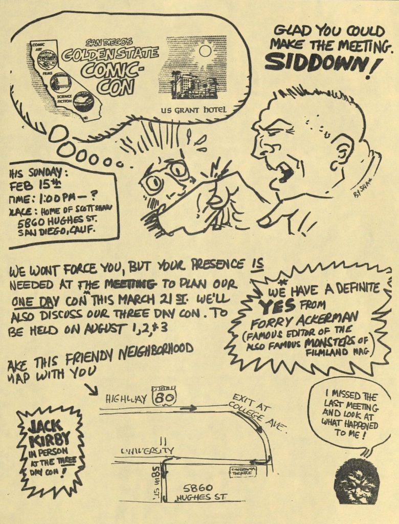 Image 8: Flyer for one of the first San Diego Comic-Con planning committee meetings, drawn and hosted by cartoonist, Scott Shaw! Richard Alf Papers, SDSU.